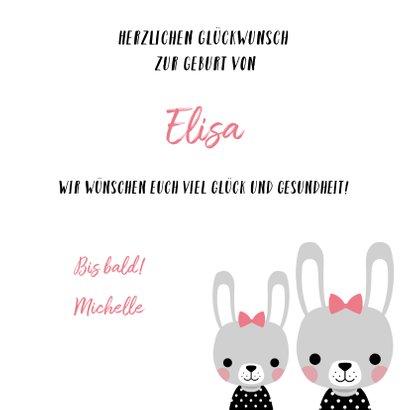 Glückwunschkarte zur Geburt einer Schwester mit Hasen 3