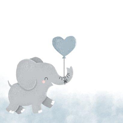 Glückwunschkarte zur Geburt Elefant mit Herzluftballon 2