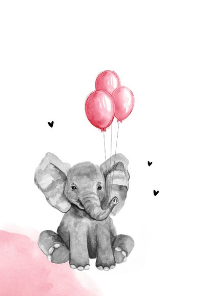 Glückwunschkarte zur Geburt Elefant mit rosa Luftballons 2