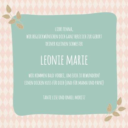 Glückwunschkarte zur Geburt Eule kleine Schwester 3