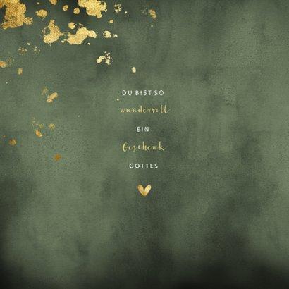 Glückwunschkarte zur Geburt grün und gold 2
