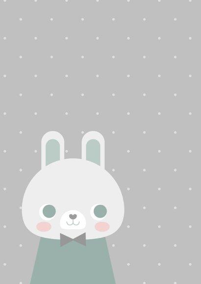 Glückwunschkarte zur Geburt Kaninchen blau grafisch 2