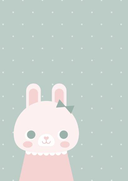 Glückwunschkarte zur Geburt Kaninchen rosa grafisch 2