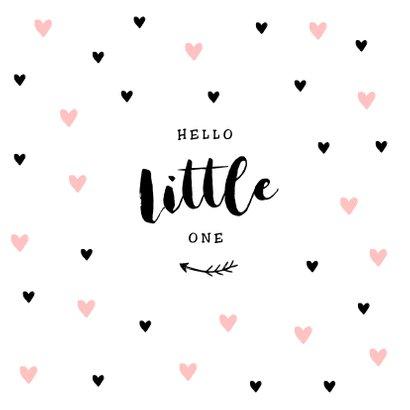 Glückwunschkarte zur Geburt Little one rosa Herz 2