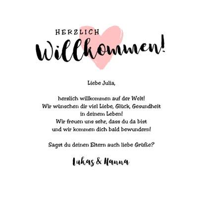Glückwunschkarte zur Geburt Little one rosa Herz 3