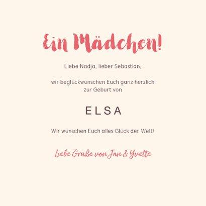 Glückwunschkarte zur Geburt Mädchen rosa Blumen 3