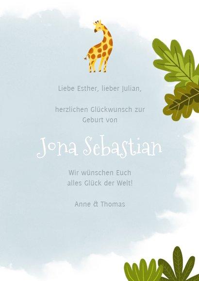 Glückwunschkarte zur Geburt mit Giraffe 3