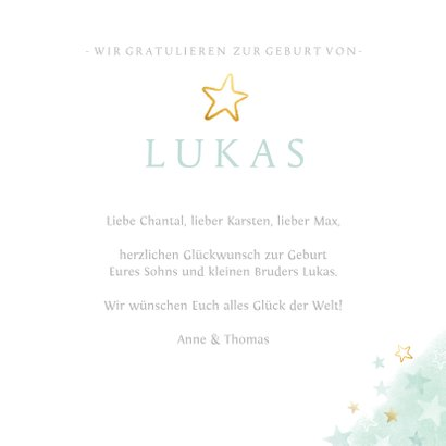 Glückwunschkarte zur Geburt Sohn / kleiner Bruder 3