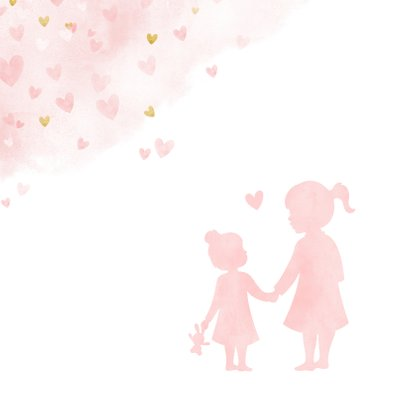 Glückwunschkarte zur Geburt Tochter / kleine Schwester 2
