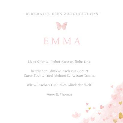 Glückwunschkarte zur Geburt Tochter / kleine Schwester 3