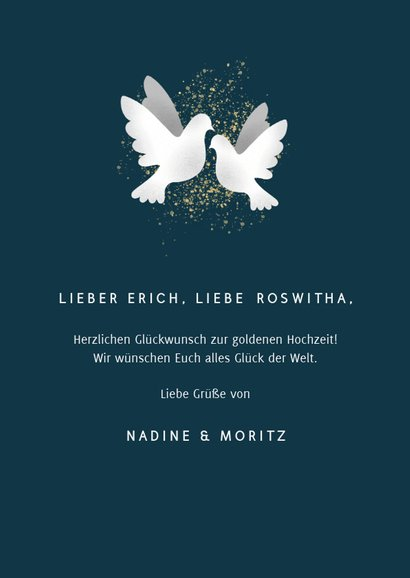 Glückwunschkarte zur goldenen Hochzeit Weiße Tauben 3