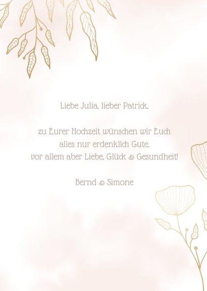 Glückwunschkarte zur Hochzeit filigrane Blätter 3