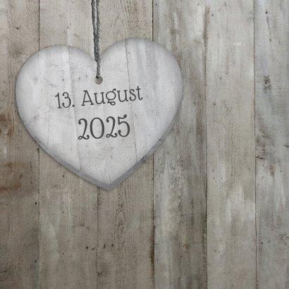 Glückwunschkarte zur Hochzeit Herzen in Holzlook 2