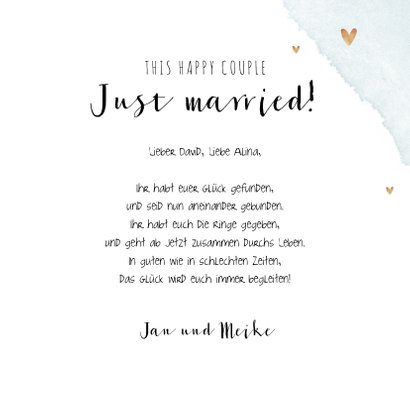 Glückwunschkarte zur Hochzeit Holzschilder und Herzen 3