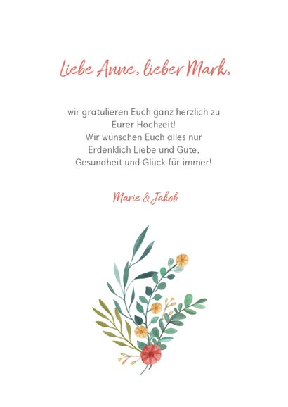 Glückwunschkarte zur Hochzeit Just married mit Blumen 3