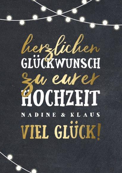 Glückwunschkarte zur Hochzeit Lichterkette und Typografie 2