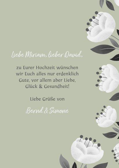 Glückwunschkarte zur Hochzeit mit weißen Blumen 3