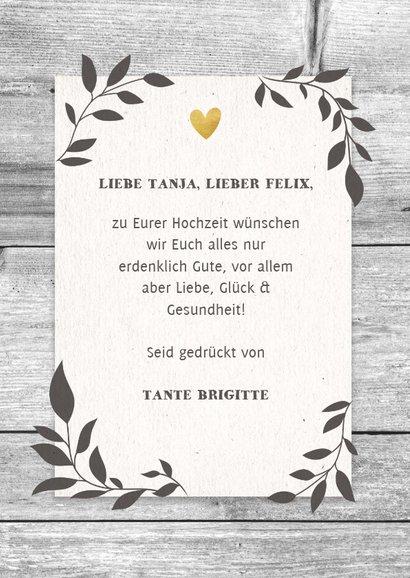 Glückwunschkarte zur Hochzeit 'Mr. & Mrs' auf Holz 3