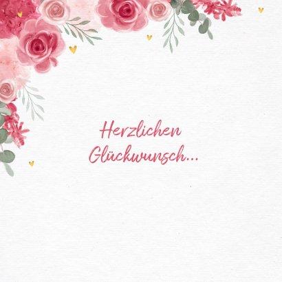 Glückwunschkarte zur Hochzeit rosa Rosen 2