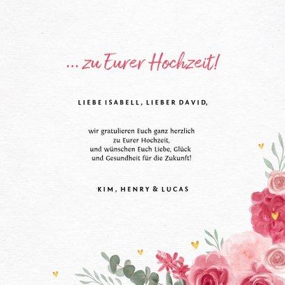 Glückwunschkarte zur Hochzeit rosa Rosen 3