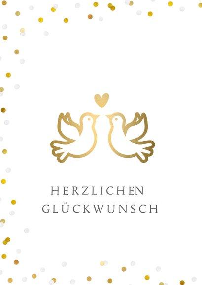 Glückwunschkarte zur Hochzeit Tauben mit Herz 2