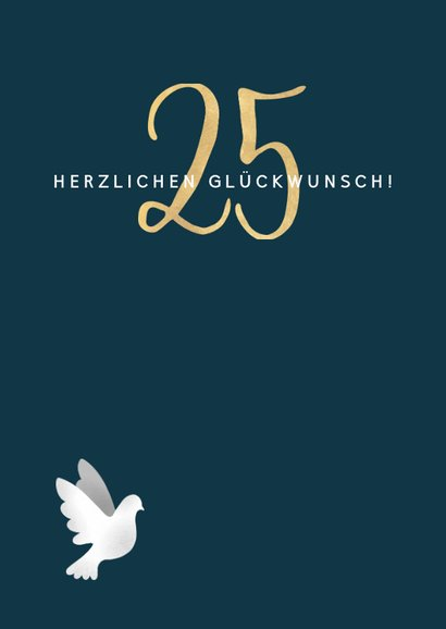 Glückwunschkarte zur Silberhochzeit Weiße Tauben 2