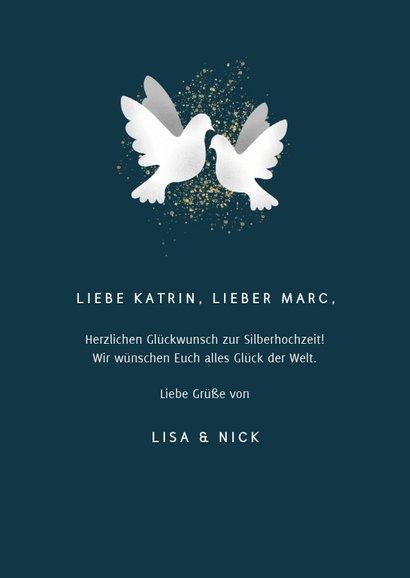 Glückwunschkarte zur Silberhochzeit Weiße Tauben 3