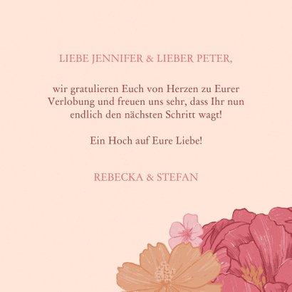 Glückwunschkarte zur Verlobung Blüten und Lettering 3