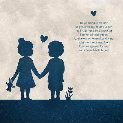 Glückwunschkarte zur Zwillingsgeburt Junge/Mädchen blau 2
