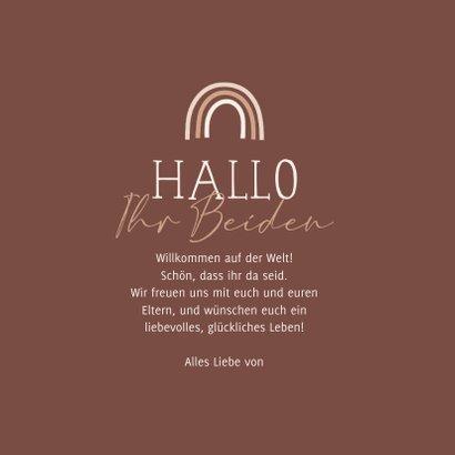 Glückwunschkarte Zwilling geboren 'Hallo Ihr Beiden' 3