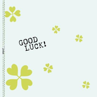 Good Luck kaart botanisch met klavertjes vier 2