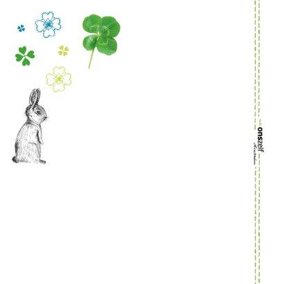 Good luck kaart met klavertjes en konijnen in groen en blauw 2