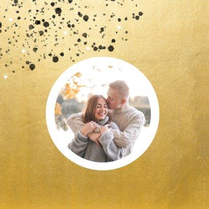 Goudlook kerstkaart 2021 met foto sterren en spetters 2