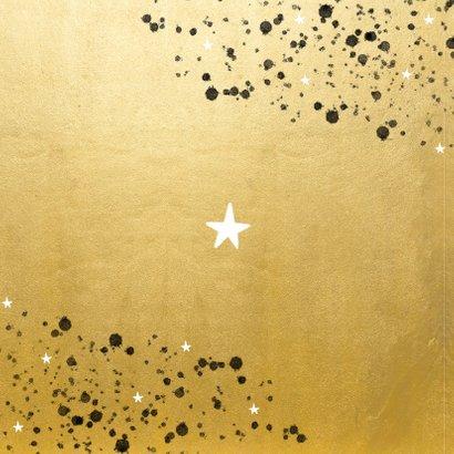 Goudlook kerstkaart 2021 met foto sterren en spetters Achterkant