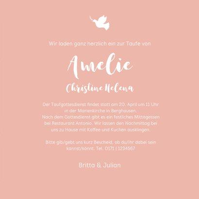 Grafische Einladung Taufe rosa Konfetti Wasserfarbe 3