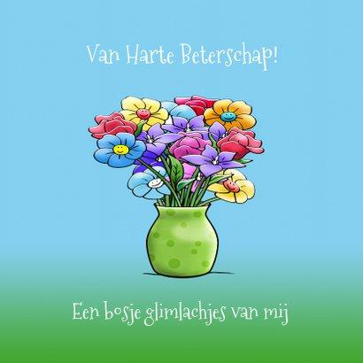 grappige beterschapskaart opkikker met bos bloemen 3