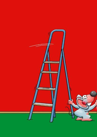 Grappige felicitatie muizen die een muur rood schilderen 2
