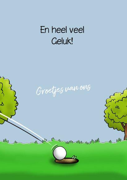 Grappige felicitatiekaart met golfspeler die gewonnen heeft 3