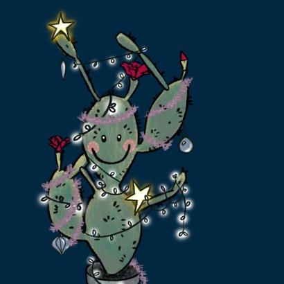 Grappige kerstkaart met cactus vol kerstlichtjes 2