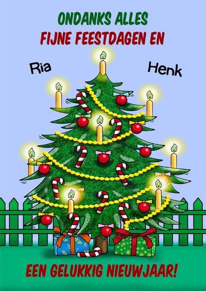 Grappige kerstkaart met een opkikker en kerstboom 3