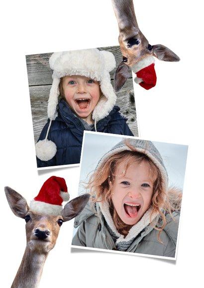Grappige kerstkaart met foto's van hertjes met kerstmuts op  2