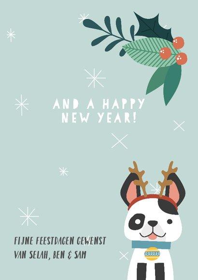 Grappige kerstkaart met illustratie van hondje en takjes 3