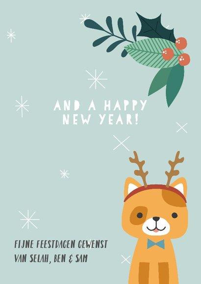Grappige kerstkaart met illustratie van kat en takjes 3