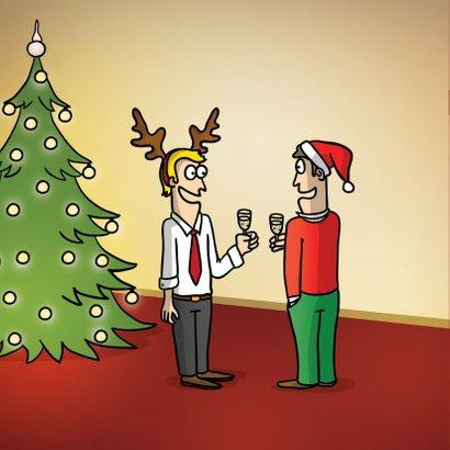 Grappige kerstkaart met kerstballen 2