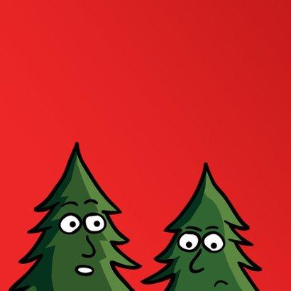 Grappige kerstkaart met kerstbomen aan de bar 2