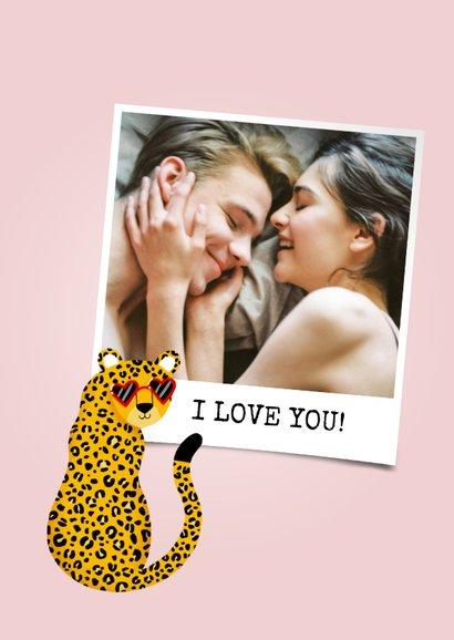 Grappige liefdekaart met panter I'm wild about you & naam 2