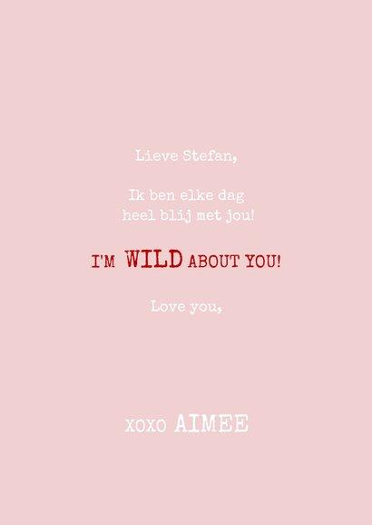 Grappige liefdekaart met panter I'm wild about you & naam 3