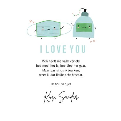 Grappige liefdekaart perfecte match mondkapje en handzeep 3