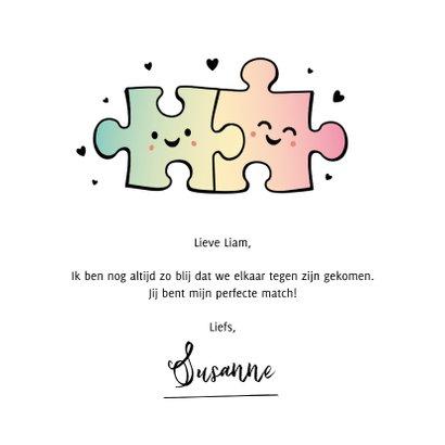 Grappige liefdeskaart met 2 puzzelstukjes - perfect match! 3
