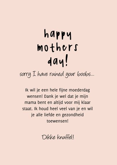 Grappige moederdag kaart Sorry I have ruined your boobs 3